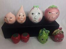 4 SETS x Vintage Retro Anthropomorphic Fruit Kitschy Salt & Pepper Shaker LOT