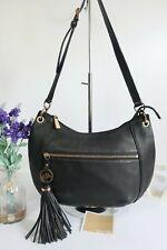 "MICHAEL KORS ""Bedford"" Crossbody Shoulder Tassel Bag Medium Black Leather"