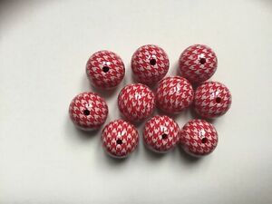 Red And White Houndstooth Print 20mm Acrylic Beads - Pack Of 10