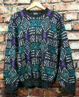 Vintage 80s 90s Teal Purple Retro Hip Hop Oversized Sweater Mens Large USA Made