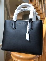 ❤️NWT Michael Kors Adele Black LG Satchel Large leather handbag $368+