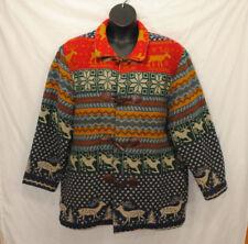 VTG David Brooks XL Wool Blend Coat Deer Elk Toggle Closure Multi-color Nordic