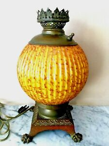 Antique Italian Adventurine Glass Gold Fleck Table Lamp
