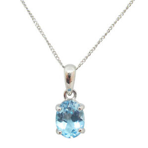 9ct White Gold 1.20ct Oval Shaped Aqua Fancy Single Stone Pendant With Chain