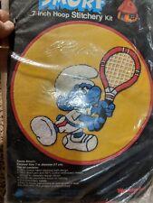 New listing Wonderart Tennis Smurf 7 Inch Hoop Stitchery Kit