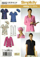 Simplicity 3932 Womens Plus Scrubs Tops & Hat Sewing Pattern 20W-28W Uncut