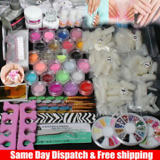 Nail Art Diy Full Set Kit Acrylic Glitter Powder Primer Tips Brush Glue Dust Kit