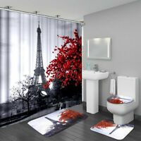 Waterproof Bathroom Shower Curtain 3PCS Bathroom Bath Mat Set Toilet Seat Cover