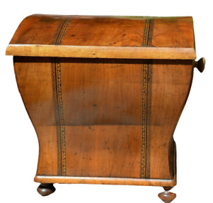 German antique field toilet 19th century walnut birch sawn veneer tied inlaids