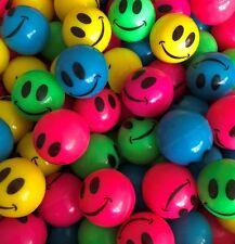 "144 - Neon Smile Face 1"" Super Bouncy Hi Bounce Smiley Balls 25mm"