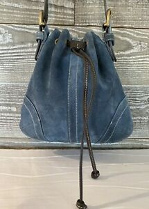 Coach Blue Suede Crossbody Messenger Shoulder Bag G3S-9524