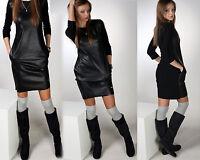 Neu Damen Sexy Kleid Kunstleder Kleid Sport Party Festlich Kleid Sportkleid S-XL