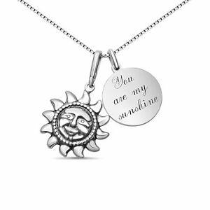 Personalisierte Sonnen Kette You are my Sunshine aus 925 Silber Rückseitengravur
