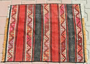 Authentic Ethnic Traditional Handwoven Turkish Vintage Kilim Runner Rug 2x3ft