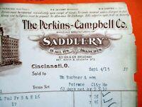 09-04-1913 PERKINS CAMPBELL CO SADDLERY CINCINNATI OHIO Bill Head