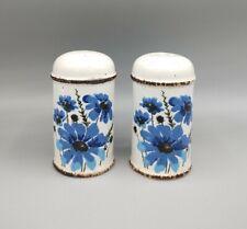 Vintage Midwinter Pottery Stoneware Blue Floral Salt & Pepper Shakers England