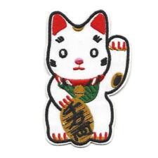 "MANEKI NEKO IRON ON PATCH 3.5"" Lucky Waving Cat Red White Embroidered Applique"