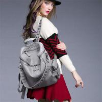 Women Soft Leather Backpack Spike Stud Shoulder Bag Handbag Punk Goth Travel Bag