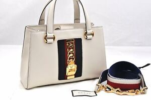 Authentic GUCCI Sylvie Sherry Line Shoulder Hand Bag 2Way Leather White 95916