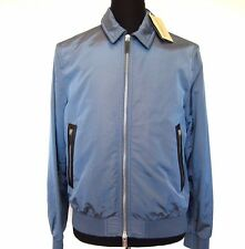 L-2758300 New Burberry London Ellesmere Blue Nylon Zip Jacket Coat Size-L