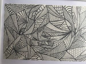 Abstract Artist drawing pen London Artist new framed black and white