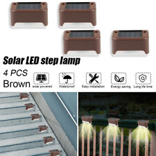 LED Solar Step Light 4PCS Outdoor Stairs Yard Garden Fence Lamp Set Waterproof