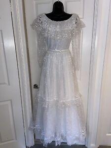 Vintage Pronuptia De Paris Victorian Style White Princess Wedding Dress Size 6-8