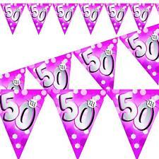 50th Anniversaire Rose Résistant Aux Intempéries Guirlande Fanions 4m / 4m