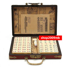 144 Bamboo Pieces Mini Rare Chinese Mah-Jong Set W/ Portable Retro Mahjong Box