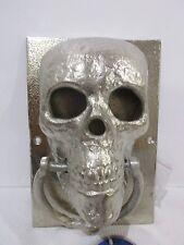Halloween Cast Iron Skull Silver Door Knocker Decor Decoration