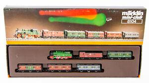 Vintage Marklin Mini-Club 8104 German Z Scale Steam Locomotive/Passenger Car Set