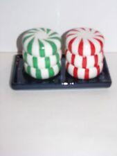 Salt Pepper Shaker set on Tray, Striped Mint Candy Shaped, Snow Munchkin Love