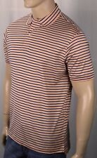 David Chu Lincs Orange Navy Blue Striped Classic Fit Interlock Polo Shirt NWT