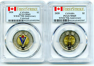 2020 $2 CANADA TOONIE PCGS MS65 WWII V75 V-E DAY VE-DAY 2-COIN SET FIRST STRIKE