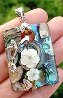 Natural Abalone shell Flower Pendant Energy Reiki Healing Amulet