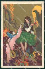 Busi Italian Art Deco Lady and Pierrot Degami serie 2074 postcard QT6668