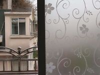 HOT SALE 45x200cm Frosted Cover Glass Window Floral Flower Sticker Film Office
