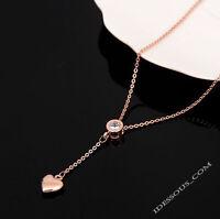 18k Goldkette Damen Halskette MIT Anhänger Diamant Collier Herz vergoldet 38€