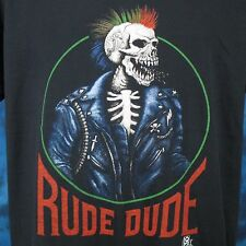 vintage 80s Rude Dude Skeleton Rainbow Mohawk Paper Thin T-Shirt M/L biker punk