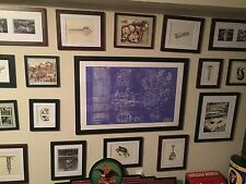 Harley Davidson Knucklehead Motorcycle Blueprint Mancave Vintage Poster Sign