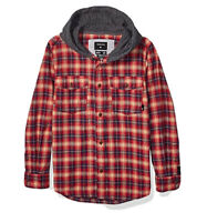 $60 Quiksilver Boy's Snap Up Long Sleeve Hoody Shirt Youth Size M/12
