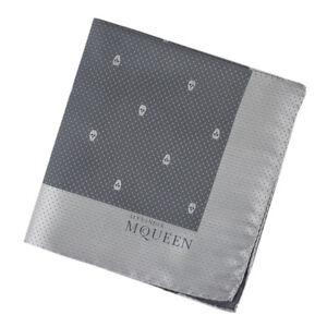 Alexander McQueen Charcoal Grey Pale Grey Skull Dot Pochette Pocket Square