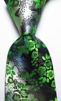 New Classic Floral Black Gray Green JACQUARD WOVEN 100% Silk Men's Tie Necktie