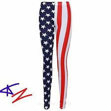 WOMEN'S AMERICAN FLAG STARS AND STRIPES FULL LENGTH LEGGINGS PLUS 8-26 HURRY UP