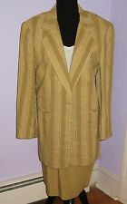 YL BY YAIR TAILORED SUIT WIDE SEERSUCKER MULTI-TONE BEIGE VERTICAL STRIPES 4 / 6