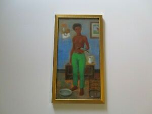 ANTIQUE  PAINTING VINTAGE PORTRAIT BLACK AMERICANA PRETTY WOMAN PORTRAIT NUDE