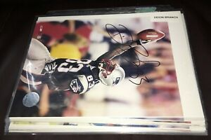 (12) SIGNED NEW ENGLAND PATRIOTS 8X10 PHOTO LOT DEION BRANCH FRED MARION GREEN