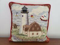 Wood Island Maine Wool Needlepoint Pillow Lighthouse 14x14 Velvet Back Cottage