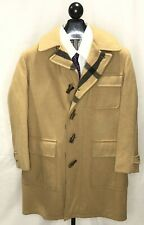 Vintage Lakeland Plaid Lined Wool Duffle Coat Beige Mens 42