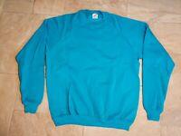 Vintage Jerzees 1980/90s USA MADE 50/50 Crewneck Sweatshirt Sweater Neon Teal XL